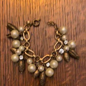 JCrew pearl/ gold bracelet